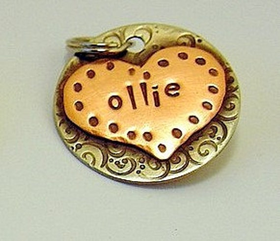 Custom pet ID tag- personalized metal name tag for dogs and cats-  the Ollie