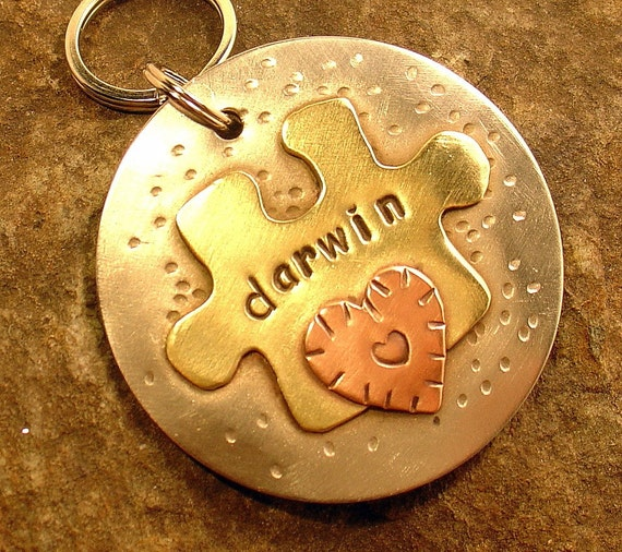 Dog ID Tag- Piece of the Puzzle Pet ID tag for dog