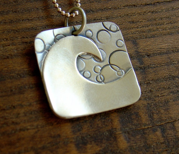 Wave Pendant Necklace in sterling silver with Mini ball chain
