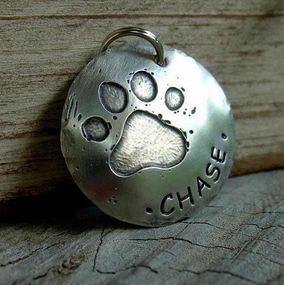 Dog ID Tag- Large Etched Paw Dog Tag in Silver