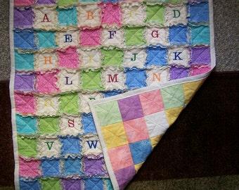 Emroidered ABC's baby rag quilt