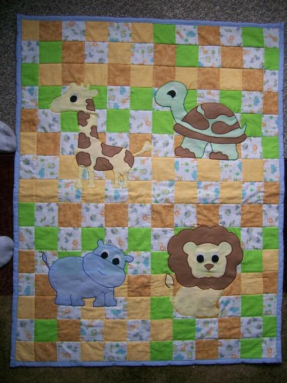 Handmade 31x38 jungle animals baby blanket