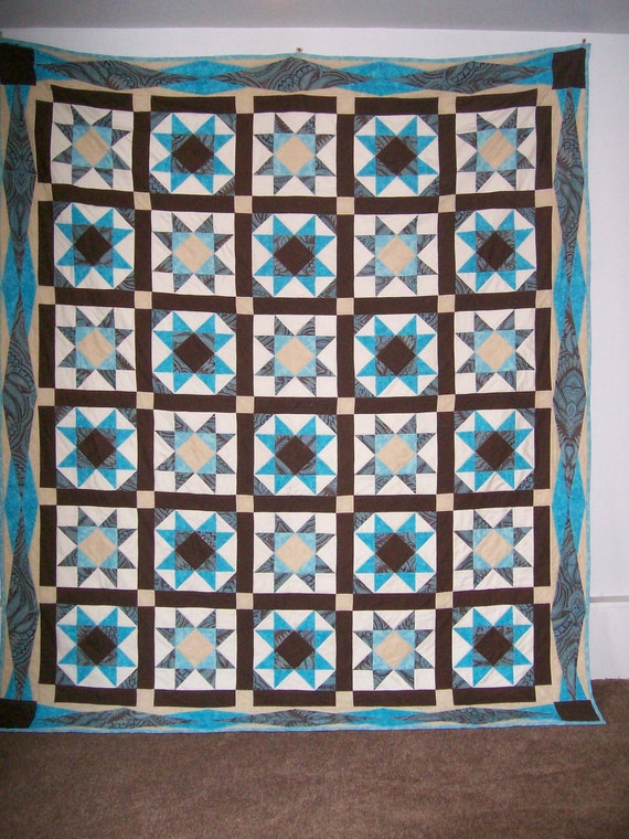 Queen size Ohio star quilt with turquoise brown and cream : teal and brown quilt - Adamdwight.com