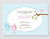 Little Birdie Party Collection: Printable Baby Shower Invitation for Girl, Boy or Twins