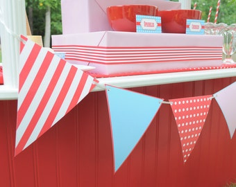 Ice Cream Parlor Party Collection: Printable Retro Pennant Banner