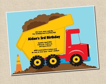 Construction Collection: Printable Dump Truck Birthday Invitation