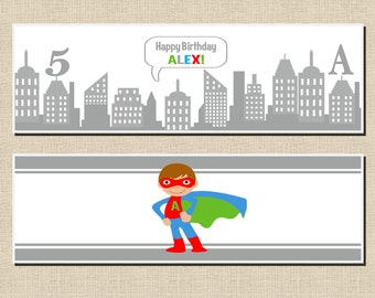 Superhero Party Collection: Printable Water Bottle Wraps/Labels