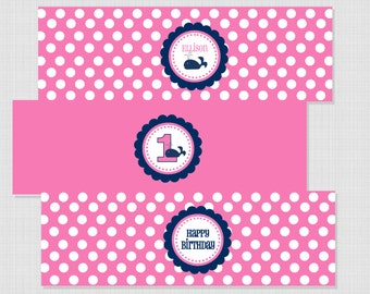 Preppy Whale Party Collection: Printable Water Bottle Wraps/Labels