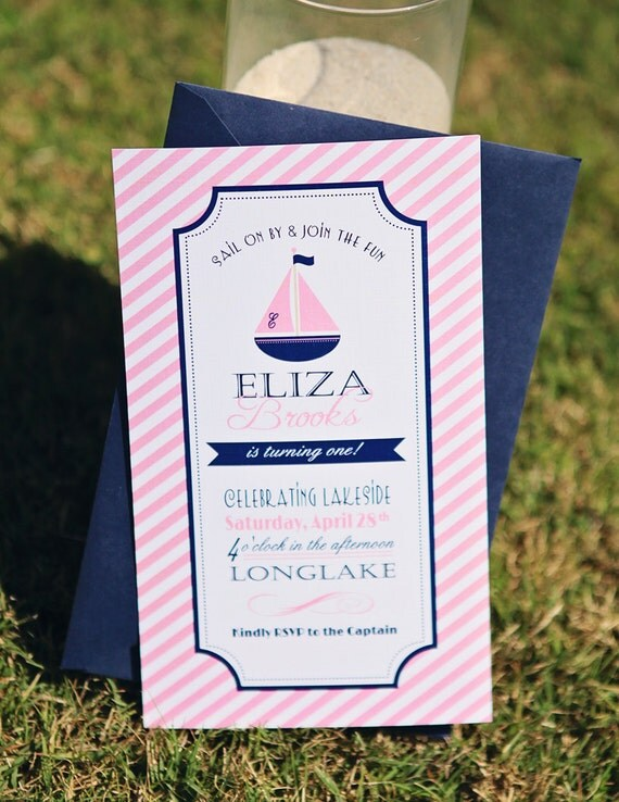 Preppy Nautical Collection: Printable Birthday or Baby Shower Invitation