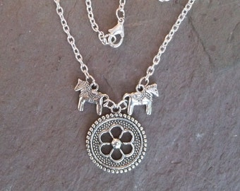 Dala Horse Viking Shield Necklace CLOSEOUT