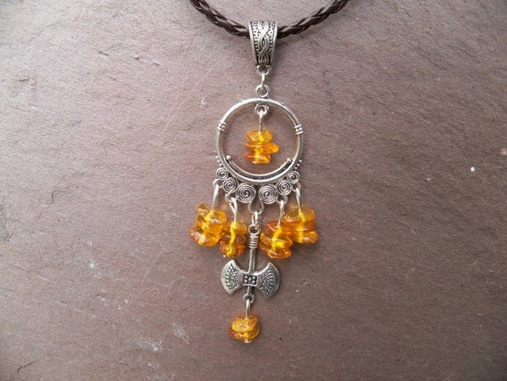 Thors  Axe Baltic Amber Necklace