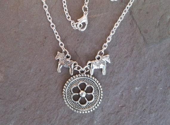 Dala Horse Viking Shield Necklace