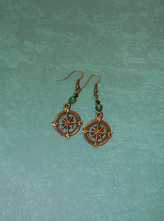 Brass Compass and Crystal Earrings