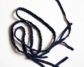 Braided Silk Headband/Belt - Midnight Blue