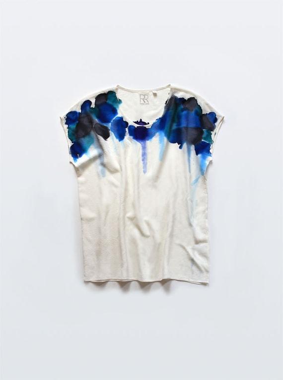 Blue Feather Silk Tee - SAMPLE