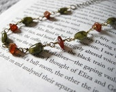 RESERVED: SALE Harvest--Peridot and Hessonite Garnet Brass Necklace