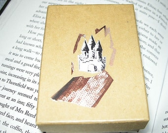 SALE Pink Castle: Unique Kraft Decoupage Collage Gift Box (for Jewelry, Trinkets, Display, Etc.) / Limited Edition
