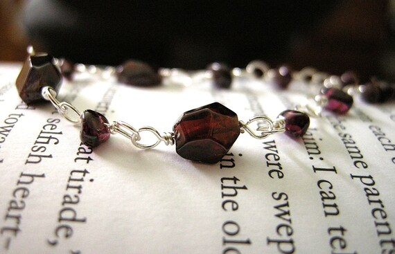 Gothic Architecture Bracelet Garnet Pebble and Faceted Nugget Stones / Deep Merlot Red, Burgundy, Love, Gothic, Rustic Valentines Day Gift
