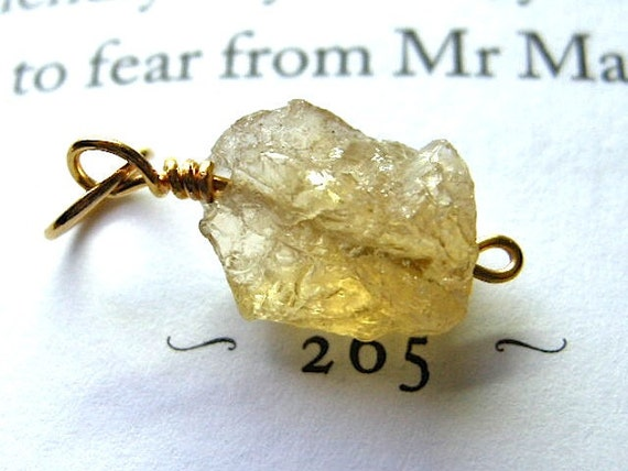 Small Rough Golden Citrine Nugget Pendant / Yellow, Gold