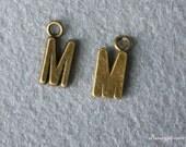 9pcs of Antique Bronze lovely Letter M Connector Charm Pendants Drops 24313