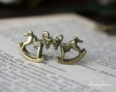 10 pcs of Antique Bronze Rocking Horse Charms 15x15mm 20409