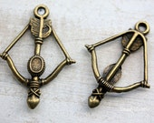 10 pcs of Antique Bronze Bow And Arrow Charms 25x37mm A070