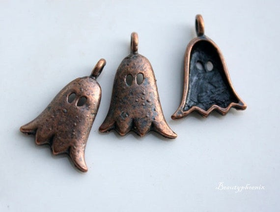 10pcs of Antique Red Copper Ghost/Halloween/Mask/Spirit Charms Pendant Drop 25317