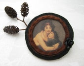 handmade felt round brooch - cameo style - mother and child - brown and black brooch