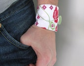 white green and red patchwork floral wrist cuff - floral textile bracelet - mothers day gift - cotton summer wrist cuff - gift for her