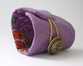 boho gypsy wrist cuff - cotton violet purple shades wrist cuff - india - golden accents bracelet- mothers day gift - gift for her