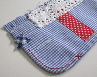 red blue white shabby wrist cuff - repurposed blue and white gingham textile bracelet - red accents - blue fabric cuff