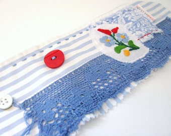 blue and red lace eco bracelet - blue and white striped wrist cuff - floral and red accents fabric cuff - gift for her
