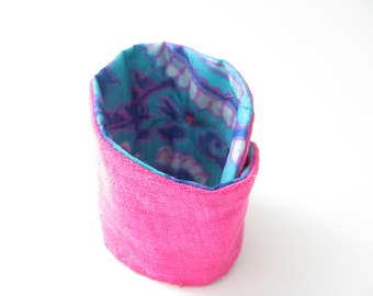 hot pink linen wrist cuff bracelet - boho hippie gypsy cuff - teal silk details - 6inch wrist - mothers day gift - gift for her