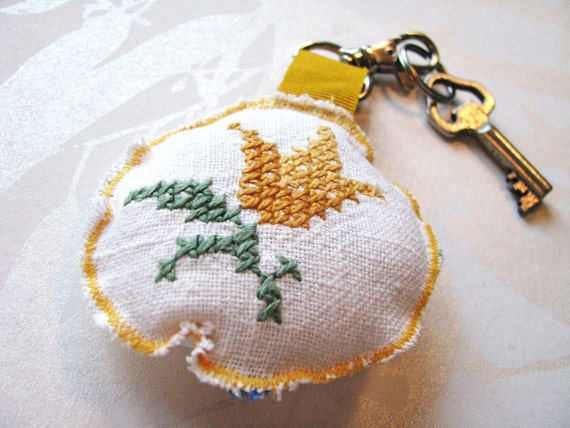 SALE - floral keychain - round vintage mustard cross stitched repurposed bag charm - mothers day gift - gift for her