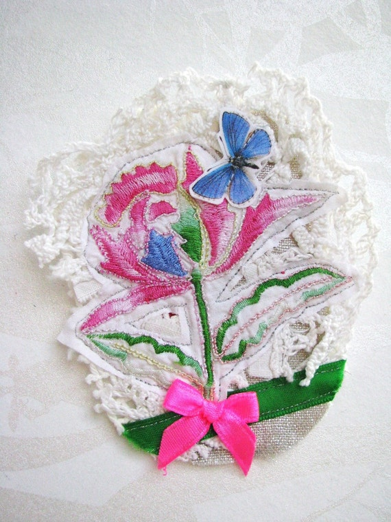 SALE floral textile collage brooch - free shipping - blue garden butterfly