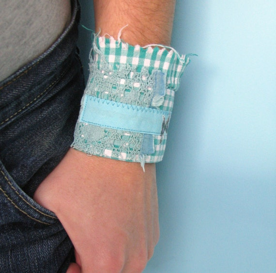 eco bracelet - teal checkered wrist cuff - shabby chic - lace details - white textured brooch