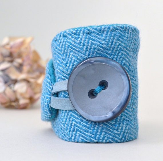 teal textile bracelet - wool herringbone cuff in teal shades - XL button wrist cuff - textile bracelet - mothers day gift - gift for her