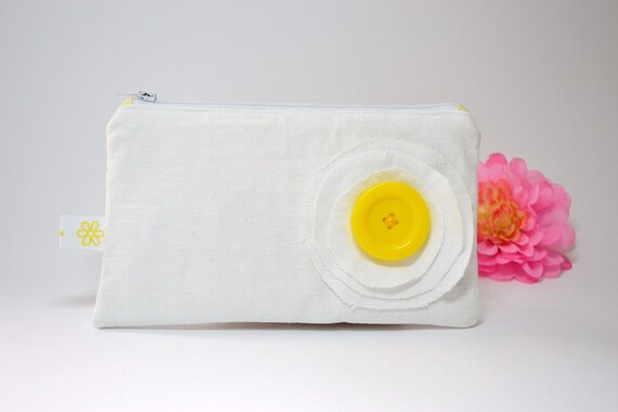 white and yellow zipper pouch - white cotton cosmetic bag - mothers day gift - white and yellow cosmetic pouch - bag in bag - white purse