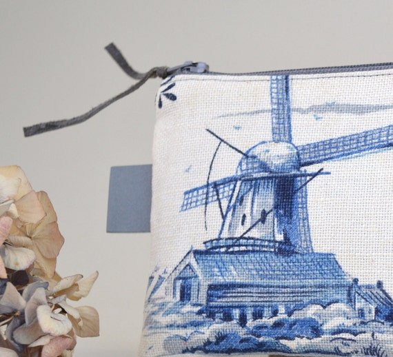 blue dutch mill zipper pouch - pencil case