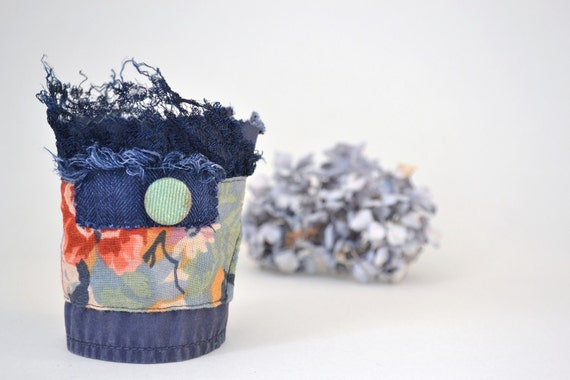 eco bracelet - blue wrist cuff - floral - green accents - blue lace - white textured brooch