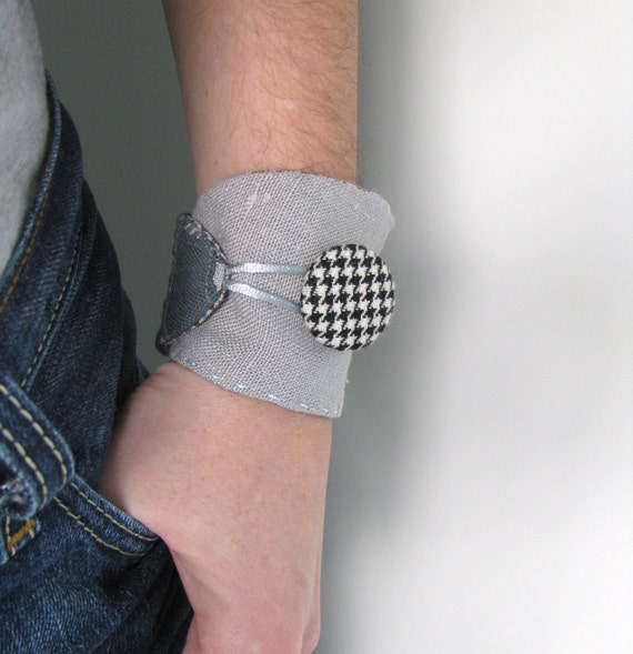 grey linen collage wrist cuff - houndstooth button - wrist cuff - textile bracelet - mothers day gift
