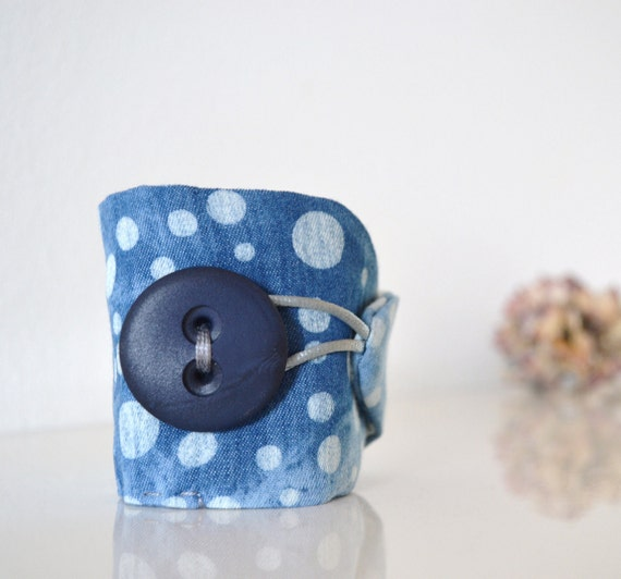 wrist cuff - bleached blue jeans and dots - organic shaped - modern summer - free shipping - gift for her