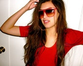 Red Gloss & Gold Chain Necklace Sunglasses