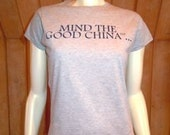 """Peach Carr Project Runway Ladie's size MEDIUM """"Good China"""" t-shirt"""
