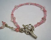 Pink Swarovski Crystal Sweetheart Bracelet Pewter Clasp