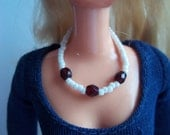 Necklace For Barbie Garnet Red Faceted Glass