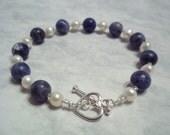 Sodalite Bracelet,Pearl Bracelet,Sterling Toggle Heart Clasp,Blue Beaded Bracelet,Great Mothers Gift,Sky Blue Bracelet, Jewelry for School