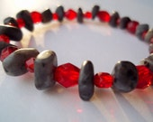 Genuine Labradorite and Faceted Glass Continuous Bracelet