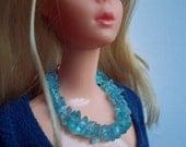 Necklace for Barbie, Genuine Apatite Gemstone, Sterling Silver Clasp, Gemstone Lei, Blythe Jewelry, Ellowine Jewelry