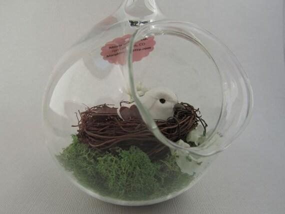 Hanging and Seated Globe White Bird